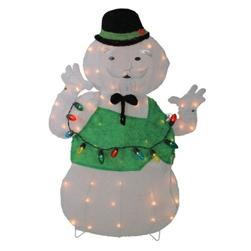 Northlight 33 Pre Lit White And Green Snowman Christmas Outdoor Decor Target