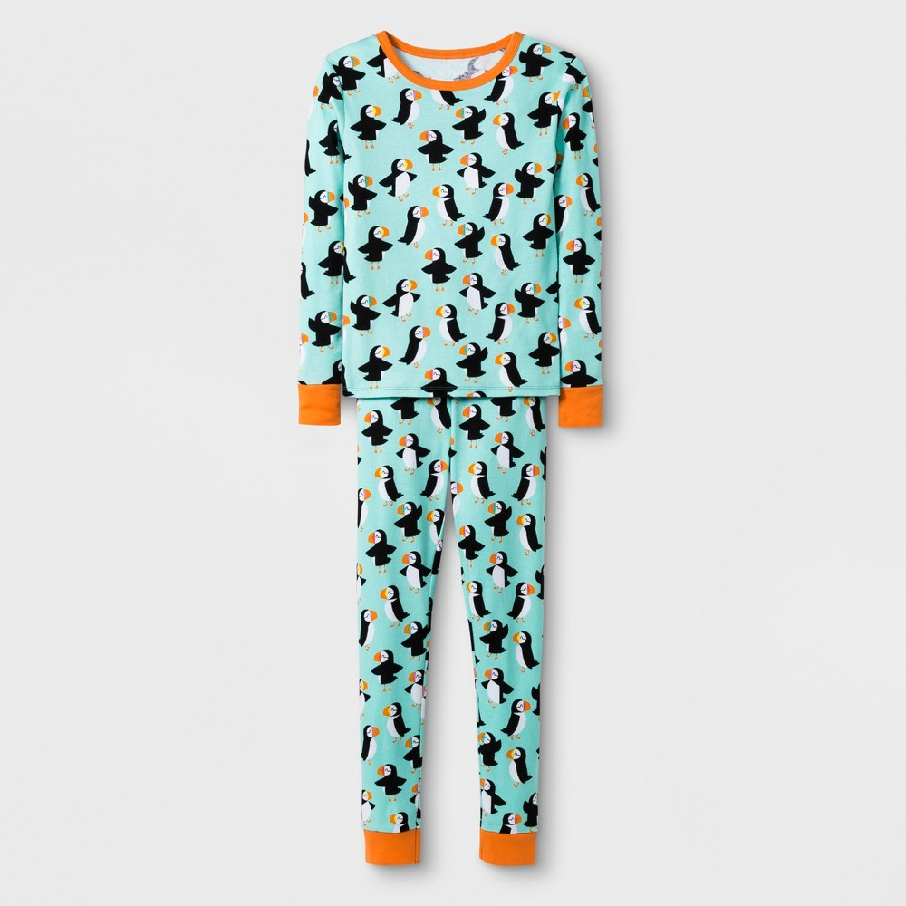 Girls' 2pc Tight Fit Long Sleeve Puffins Graphic Pajama Set - Cat & Jack Green 10