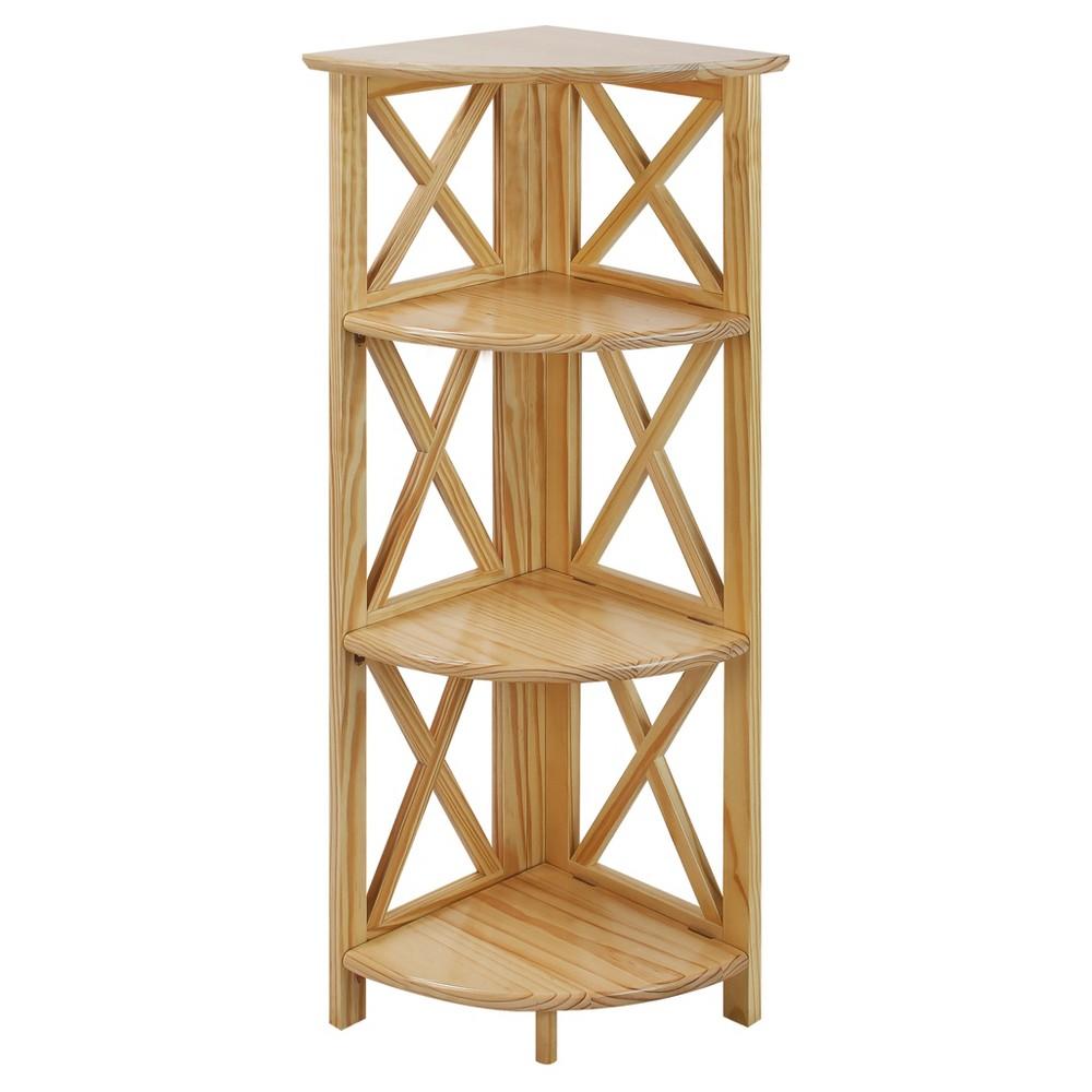 """Image of """"38.75"""""""" 4-Shelf Corner Folding Bookcase Natural - Flora Home"""""""
