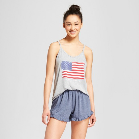 Weekend Soul Women's American Flag Pajama Set - Heather Gray - image 1 of 2