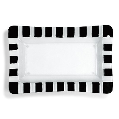 DEMDACO Black and White Striped Rectangle Pop-In Platter 16 x 10 - White