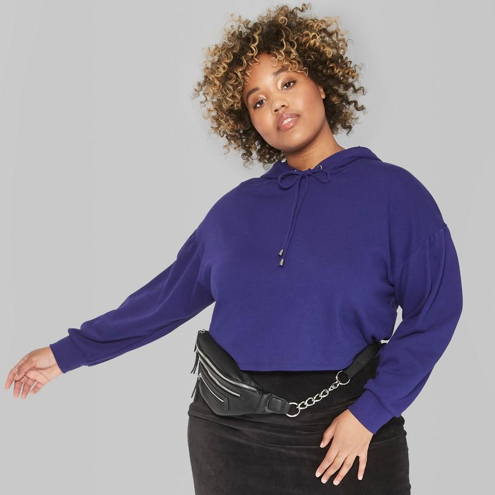 Women's Plus Size Puff Long Sleeve Drop Shoulder Hoodie - Wild Fable Purple 3X