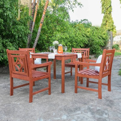 Malibu 5pc Wood Outdoor Patio Stacking Dining Set - Tan - Vifah