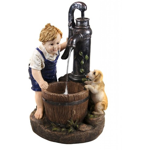Alpine Corporation 17 Boy And Dog With Water Pump Fountain Led Light Multi Color