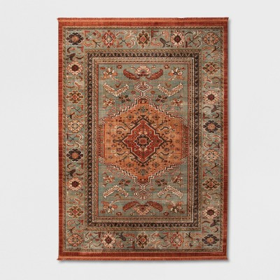 7'X10' Floral Woven Accent Rug Green/Red - Threshold™