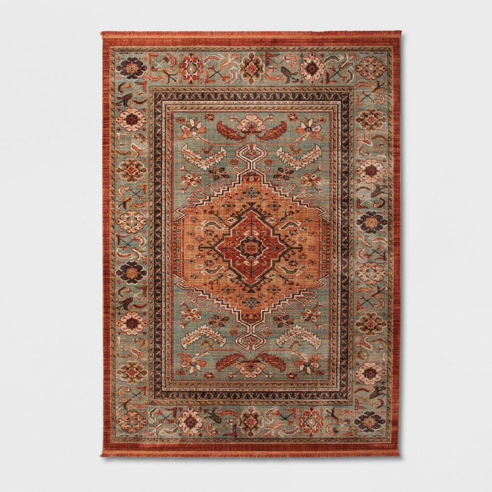 7'X10' Spiced Green Floral Woven Accent Rug - Threshold
