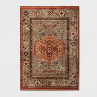 Spiced Green Floral Woven Accent Rug 7'X10' - Threshold™