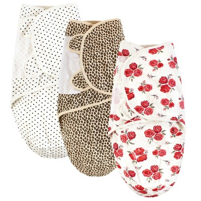 Hudson Baby Infant Girl Quilted Cotton Swaddle Wrap 3pk, Rose Leopard, 0-3 Months