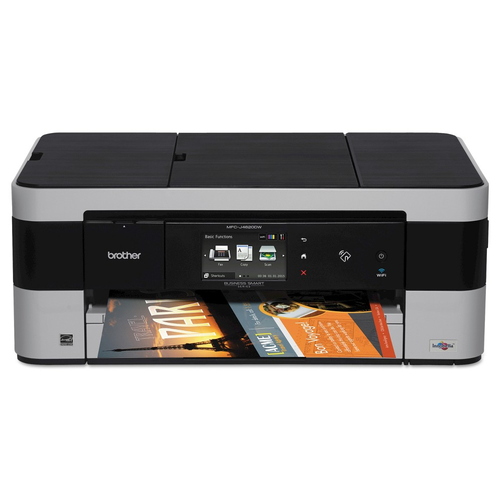 Brother Mfc-J4620DW Wireless Color Inkjet All-in-One Printer with 11  x 17  Printing and Nfc Capability - Black (MFCJ4620DW) The Brother Mfc-J4620DW color inkjet all-in-one printer provides low cost printing, fast print speeds, and up to 11 x17  output via the single-sheet bypass tray. Compact, convenient and affordable, this all-in-one copier, fax machine, wireless printer and scanner is ideal for home offices and small offices alike. LC203 and LC205 series ink cartridges are sold separately.