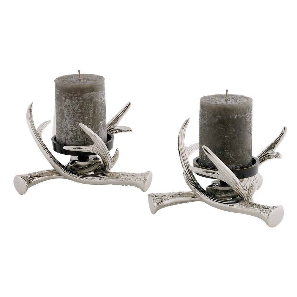 Image of 2pc Antler Pillar Holders Polished Nickel/Brass Finish - Go Home, Silver