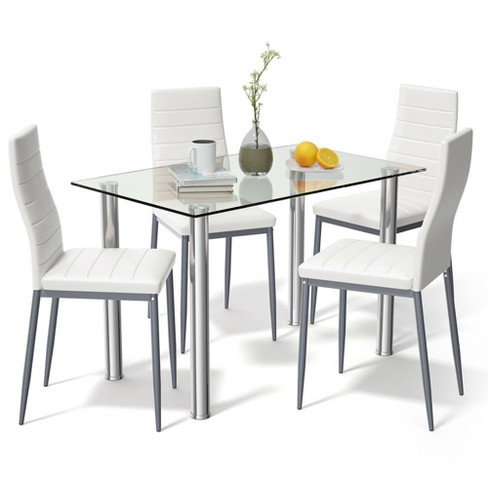 Costway 5 Piece Dining Set Table 29 6, Dining Room Table And Chair Sets