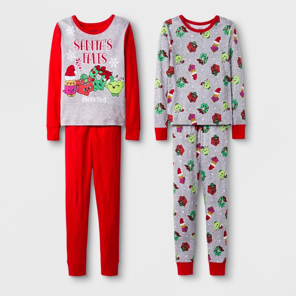 Girls' Shopkins 4pc Pajama Set - Red 10