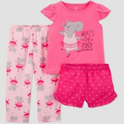 0969c6117 Toddler Girls' 3pc Hippo Poly Pajama Set - Just One You® made by carter's