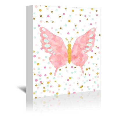 Americanflat Butterfly by Peach & Gold Wrapped Canvas
