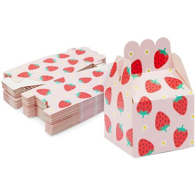 Sparkle and Bash 36-Pack Strawberry Party Favors Pink Treat Boxes for Birthday, Baby Shower Gift Box 3.5 x 2.75 in
