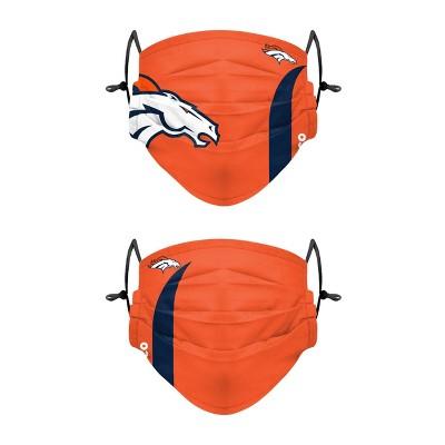 NFL Denver Broncos Adult Gameday Adjustable Face Covering - 2pk