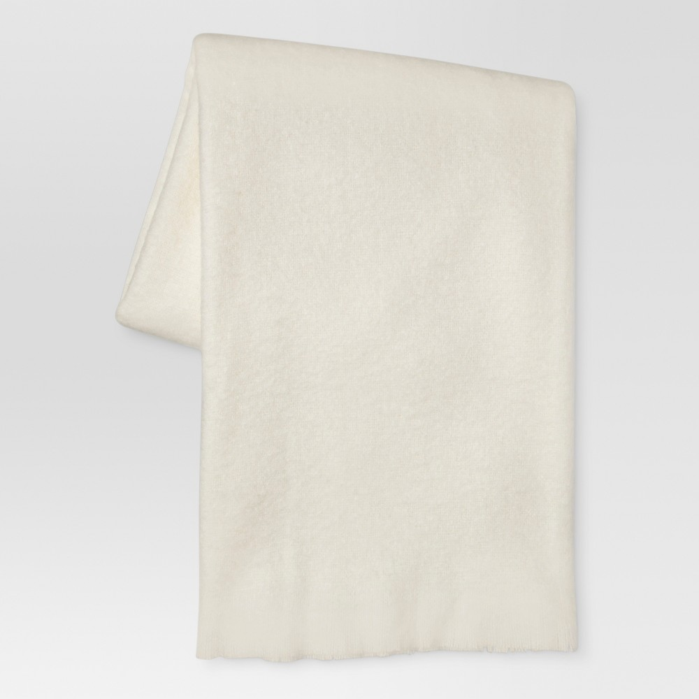 Cream (Ivory) Faux Mohair Throw Blanket (50