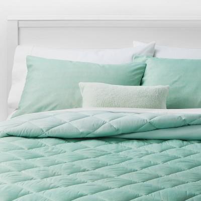 Full/Queen Solid Microfiber Bed Set Mint - Room Essentials™