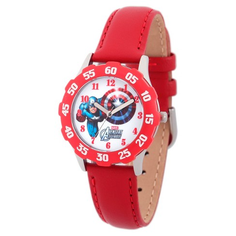 Boys' Marvel Captain America Stainless Steel with Bezel Watch - Red - image 1 of 2