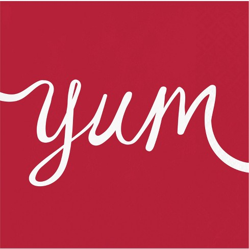 "2ply 30ct ""Yum"" Disposable Beverage Napkin Red - Spritz™ - image 1 of 1"
