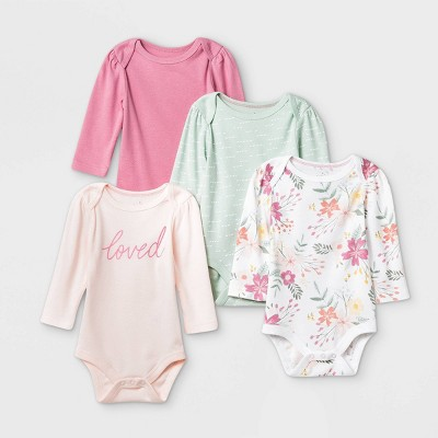 Baby Girls' 4pk Meadow Long Sleeve Bodysuit - Cloud Island™ Pink/Green/White