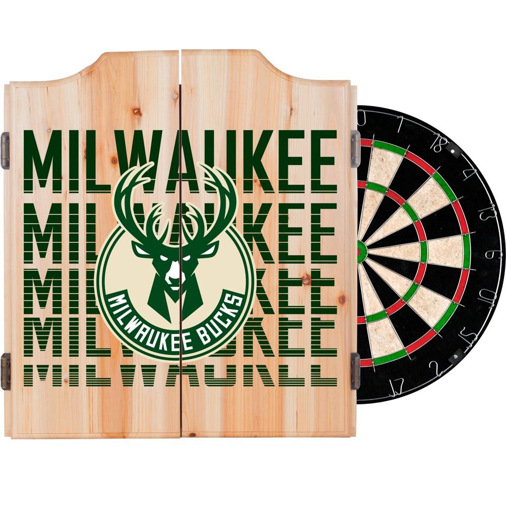 NBA Milwaukee Bucks Dart Cabinet Set with Darts and Bristle Dart Board