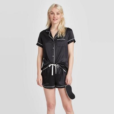 Women's 3 Piece Satin Notch Collar Pajama Set - Stars Above™ Black S