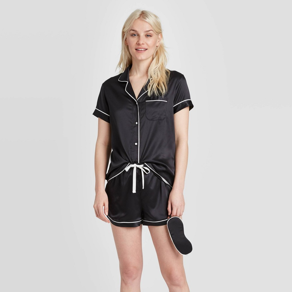 Image of Women's 3 Piece Satin Notch Collar Pajama Set - Stars Above Black L, Women's, Size: Large