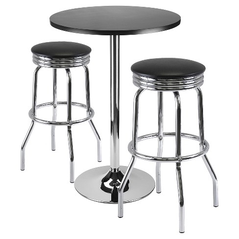 3 Piece Summit Set Pub Table Bar Height with Swivel Stools Metal/Black/Bright Chrome - Winsome - image 1 of 1