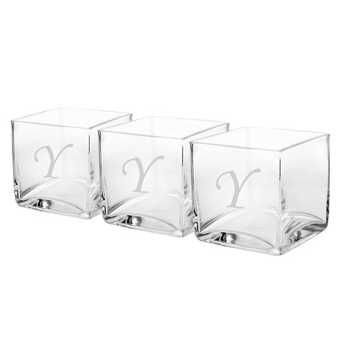 3ct Monogram Glass Vase Wedding Centerpiece - image 1 of 2