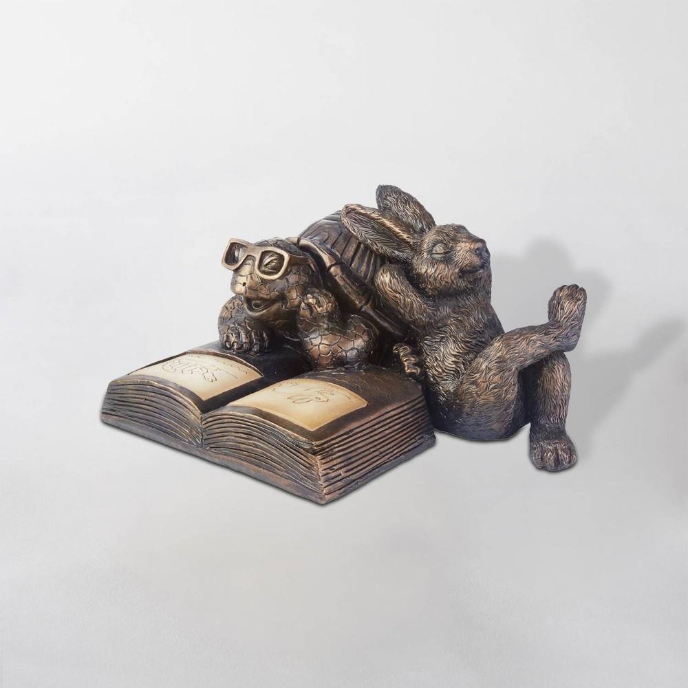 "Image of ""12"""" Reading Tortoise & Hare Solar LED Statue Brown - Smart Solar"""