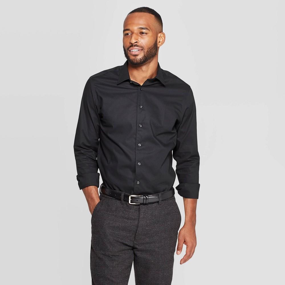 Men 39 S Standard Fit Non Iron Dress Long Sleeve Button Down Shirt Goodfellow 38 Co 8482 Black S