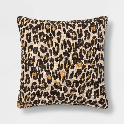 Leopard Print Square Throw Pillow Neutral - Threshold™
