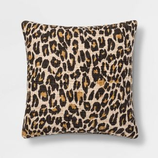 Leopard Print Throw Square Pillow Black/Cream - Threshold™