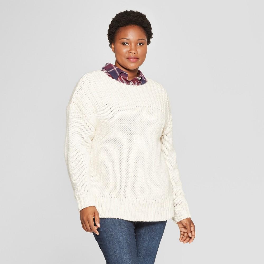 Women's Plus Size Long Sleeve Chunky Knit Sweater - Universal Thread Cream (Ivory) 3X