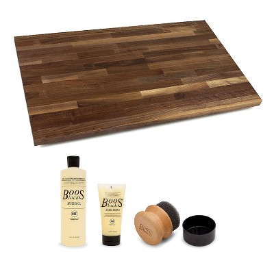 John Boos Walnut Wood Edge Grain Kitchen Countertop 24 x 25 Inches Cutting Board with 3 Piece Maintenance Set