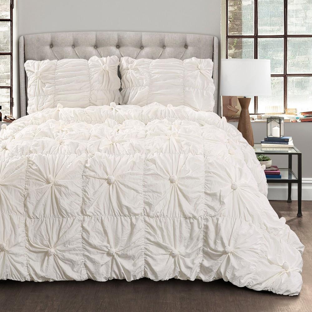 White Bella Comforter Set (King) - Lush Decor