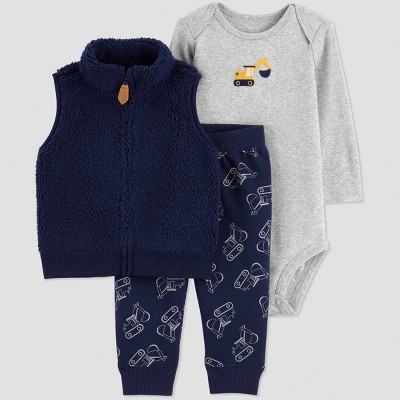 Baby Boys' 3pc Sherpa Construction Set - Just One You® made by carter's Navy Blue/Gray 6M