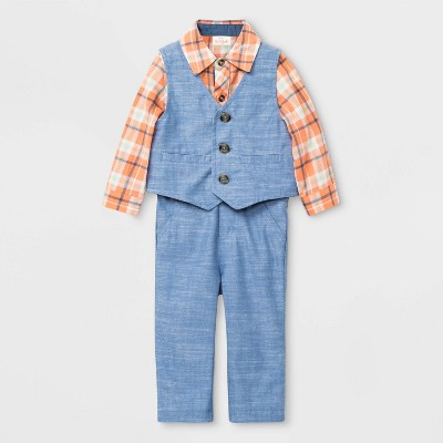 Baby Boys' 3pc Chambray Vest Top & Bottom Set - Cat & Jack™ Peach/Blue 3-6M