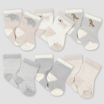 Gerber Baby 6pk Safari Jersey Wiggle Proof Socks - Gray 0-6M