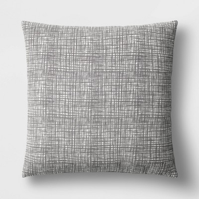 "18""x18"" Square Sketchy Grid Throw Pillow Gray - Room Essentials™"