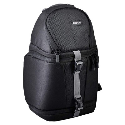 Zeikos ZE-BP77 Professional Protective Storage Sling Bag Backpack for Cameras and Equipment with Adjustable Padded Compartments, Black