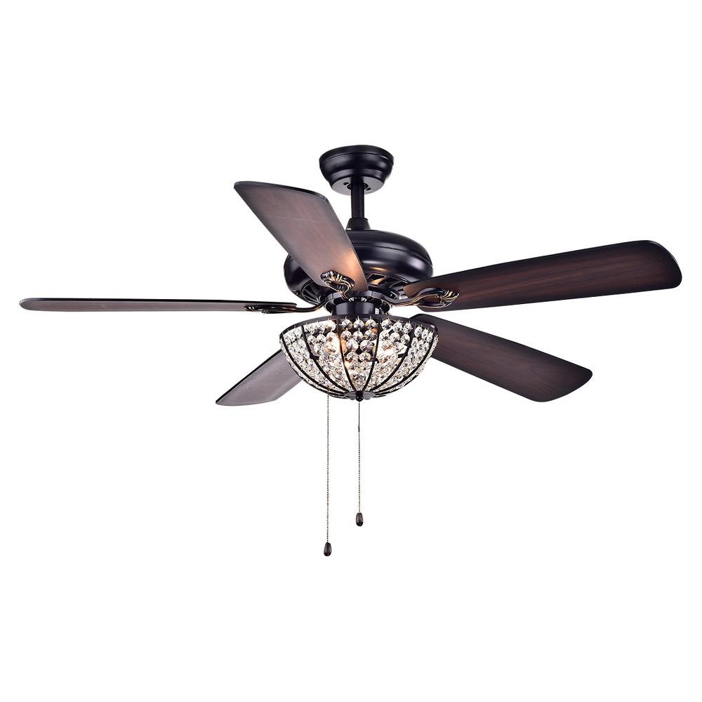 Warehouse Of Tiffany - 24 X 15 X 14 Inch Slate Black Lighted Ceiling Fans
