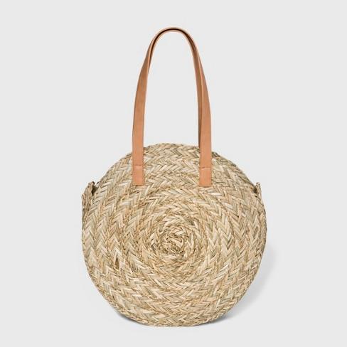 Circle Straw Tote Handbag - Universal Thread™ Natural - image 1 of 3