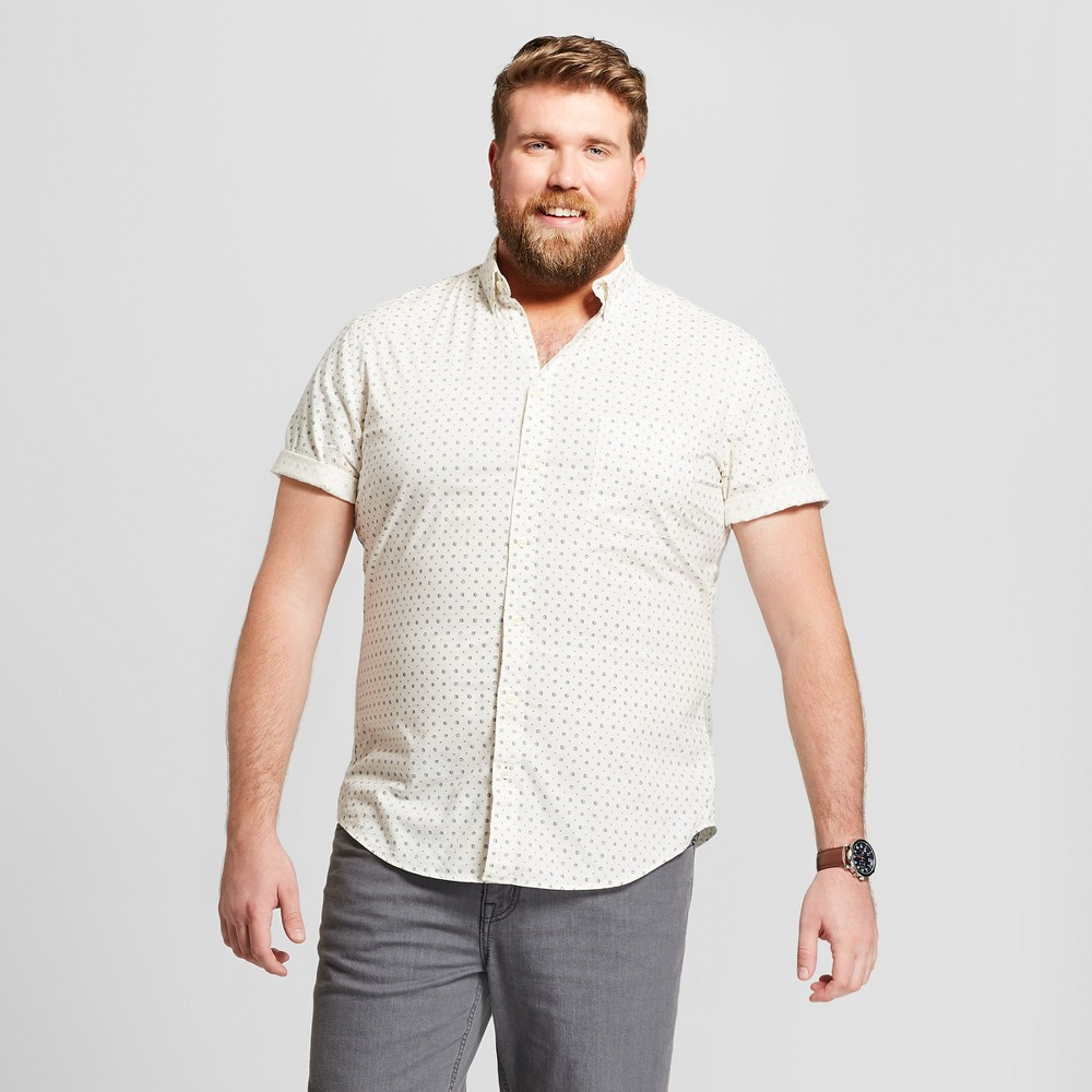 Men's Tall Floral Print Standard Fit Short Sleeve Button-Down Shirt - Goodfellow & Co Eco White MT