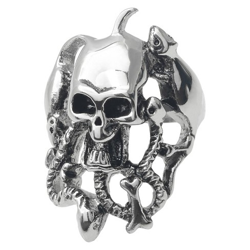 Men's Daxx Stainless Steel Skull and Bones Ring - Silver - image 1 of 3