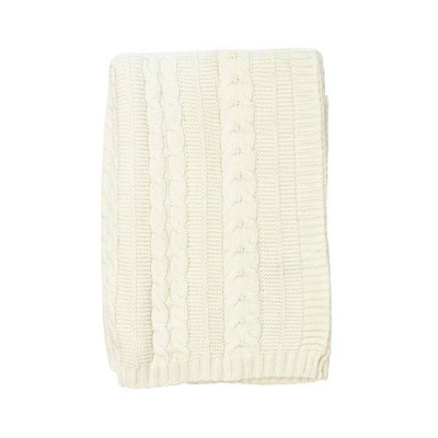 Kimberly Grant Cable Knit Blanket - Ivory