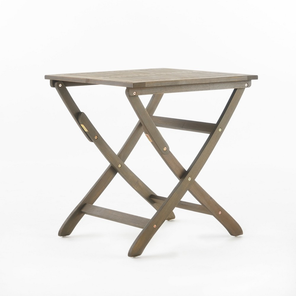 Positano Acacia Wood Foldable Square Bistro Table Gray Christopher Knight Home