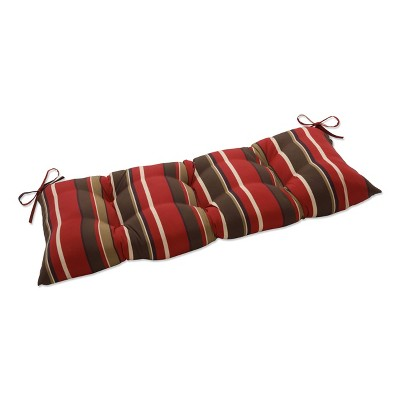 Outdoor Tufted Bench/Loveseat/Swing Cushion - Brown/Red Stripes - Pillow Perfect