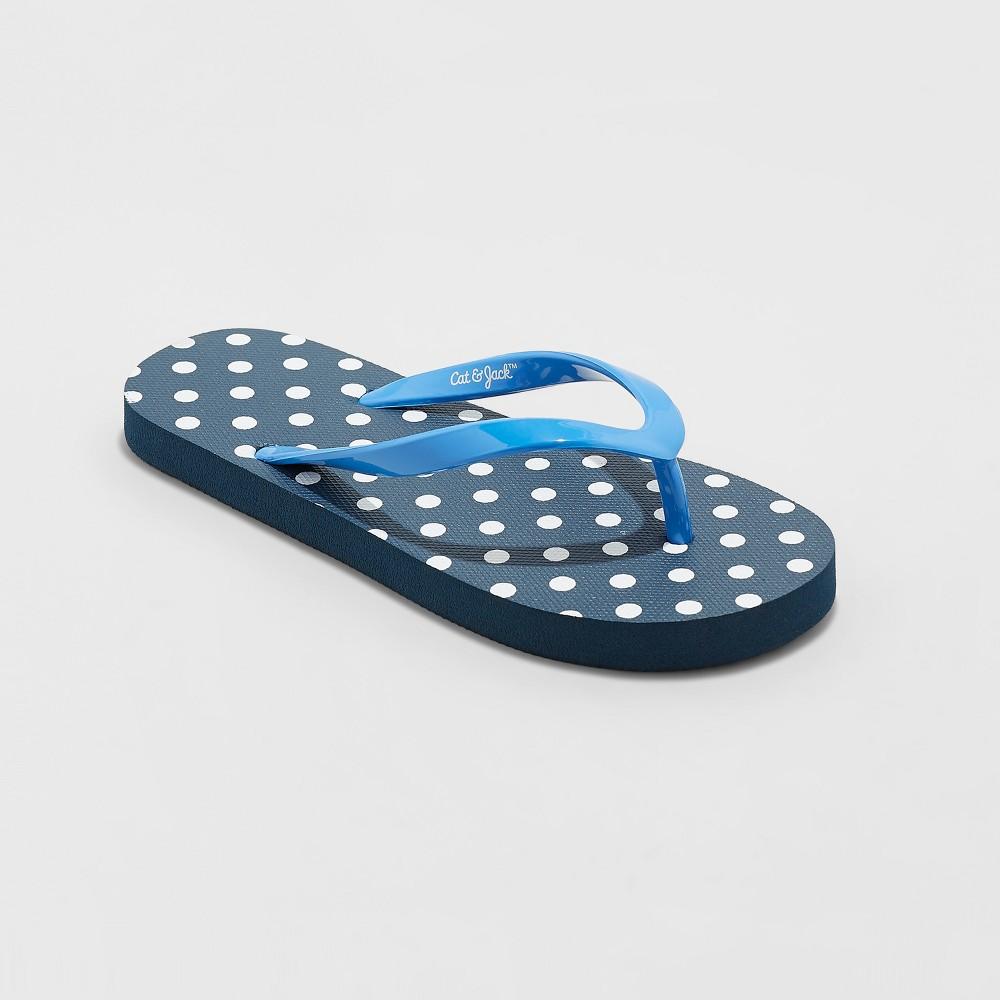 Image of Girls' Mari Polka Dot Flip Flop Sandals - Cat & Jack Blue M, Girl's, Size: Medium